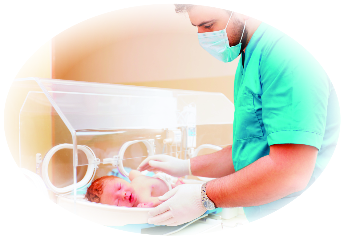 Nurse with neonate
